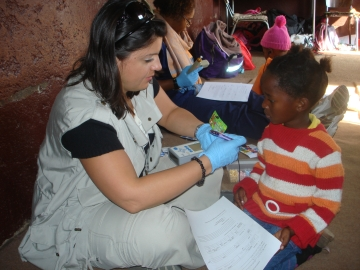 The stickers and toys donated by the American Academy of Audiology Foundation were a big hit.