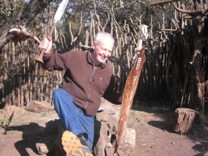 Martin, a native of South Africa, is showing us his warrior dance.